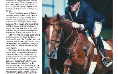 Sidelines Magazine, 4.21.15 : Greg Franklin: From Spruce Meadows to Canterbury Farm