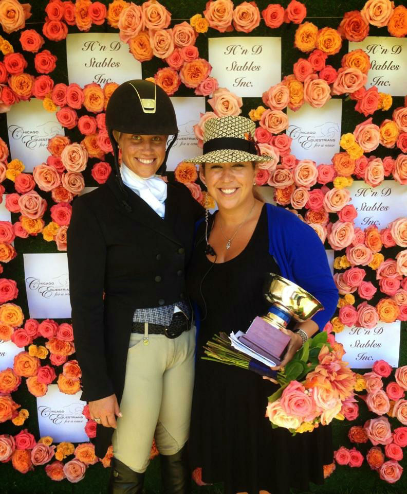 Caitlyn Shiels and Michelle Durpetti in front of the flower wall at the 2014 Chicago Hunter Derby. Michelle's company, Michelle Durpetti Events, also produced the event in 2013 and 2014.